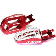 Apico Pro Bite Anodised Wide Foot Pegs - Honda Red