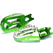 Apico Pro Bite Anodised Wide Foot Pegs - Kawasaki Green
