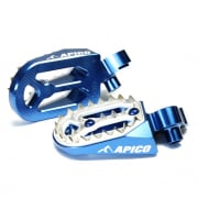 Apico Pro Bite Anodised Wide Foot Pegs - Yamaha Blue