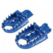 Apico Xtreme Anodised Wide Foot Pegs - Yamaha Blue