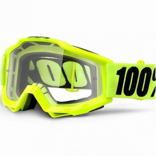 100% Accuri Kids Goggles - Fluo Yellow JR Clear Lens
