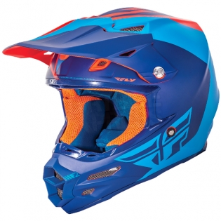 2017 Fly Racing F2 Carbon Helmet - Pure Matt Blue Orange Black