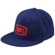 100% Essential FlexFit FlatBill Cap - Blue