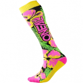 ONeal MX Boot Socks - Island Pink Green Yellow