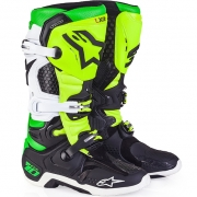 Alpinestars Tech 10 Boots - Ltd Vegas Black Wht Green Flo Yellow