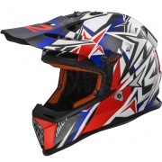 LS2 Fast MX437 Helmet - Strong White Blue Red