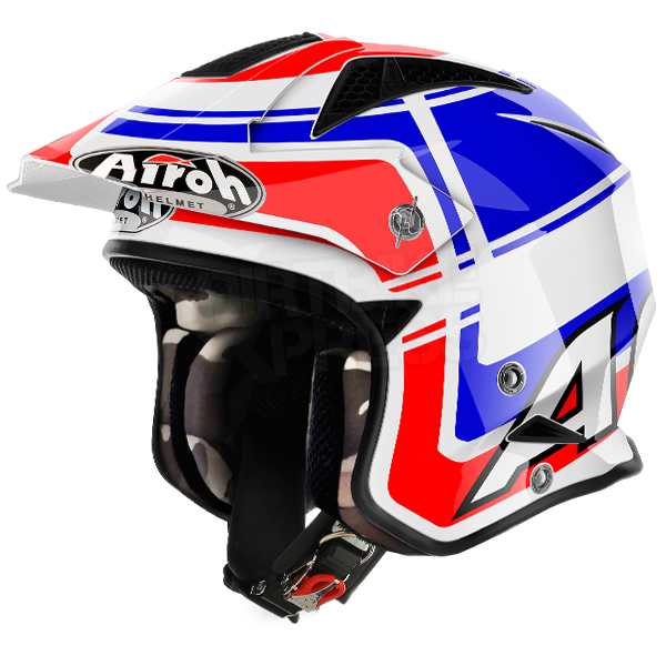 ... Airoh TRR Trials Helmet - Wintage Red White Blue Gloss Image 4. Enlarge  Watch Video
