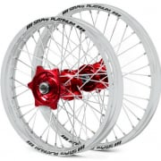 SM Pro Platinum Motocross Wheel Set - Honda Red Silver Silver