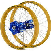 SM Pro Platinum Motocross Wheel Set - Husqvarna Blue Gold Silver