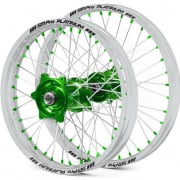 SM Pro Platinum Motocross Wheel Set - Kawasaki Green Silver Green