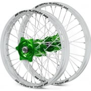 SM Pro Platinum Motocross Wheel Set - Kawasaki Green Silver Silver