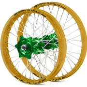 SM Pro Platinum Motocross Wheel Set - Kawasaki Green Gold Silver