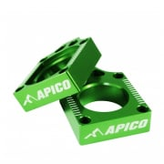 Apico Aluminium Kawasaki Axle Blocks - Green