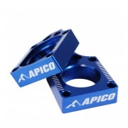 Apico Aluminium Yamaha Axle Blocks - Blue
