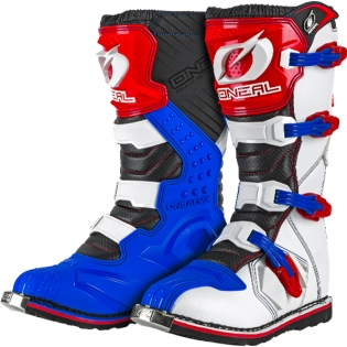 2018 ONeal Rider Boots - Blue Red White