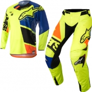 2018 Alpinestars Techstar Kit Combo - Factory Flo Yellow Blue Blk