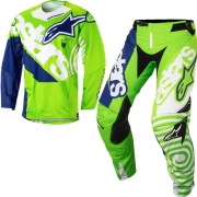 2018 Alpinestars Techstar Kit Combo - Venom Flo Green Wht Blue