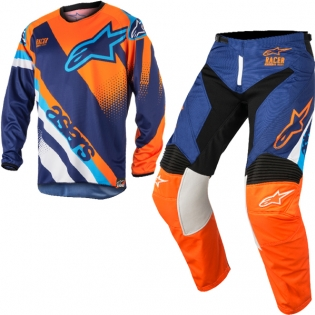 2018 Alpinestars Racer Kit Combo - Supermatic Blue Flo Orange Aqua