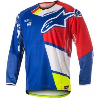2018 Alpinestars Techstar Jersey - Factory Blue Red Wht Ylw