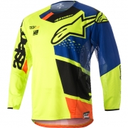2018 Alpinestars Techstar Jersey - Factory Flo Yellow Blue Blk