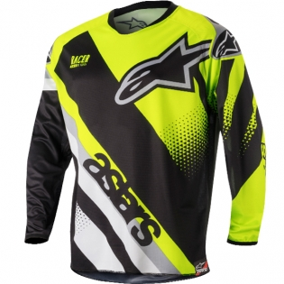 2018 Alpinestars Racer Jersey - Supermatic Black Flo Yellow Grey