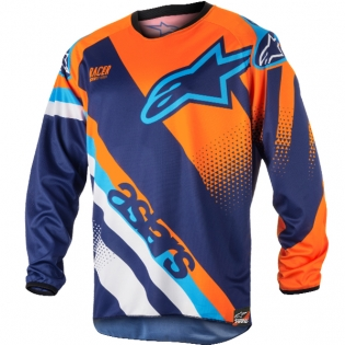 2018 Alpinestars Racer Jersey - Supermatic Blue Flo Orange Aqua