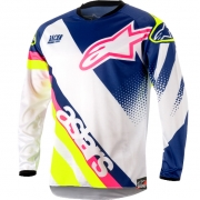 2018 Alpinestars Kids Racer Supermatic Jersey - White Blue Flo Yellow