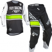 2018 Fly Racing Kinetic Kids Kit Combo - Era Black White Hi Viz