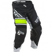 2018 Fly Racing Kinetic Kids Pants - Era Black White Hi Viz