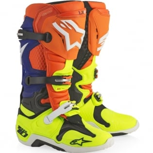 Alpinestars Tech 10 Boots - Orange Blue Flo Yellow White