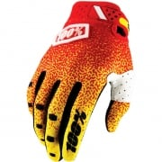 100% RideFit Motocross Gloves - Red Yellow