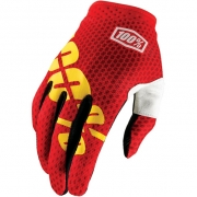 100% iTrack Motocross Gloves - Fire Red Yellow