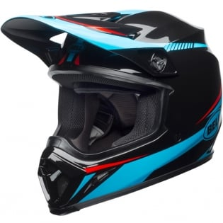 Bell MX9 MIPS Helmet - Torch Black Cyan Red