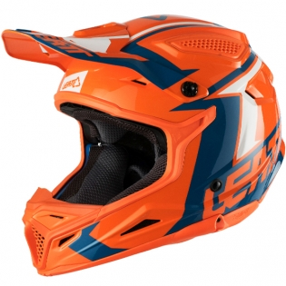 2018 Leatt Kids GPX 4.5 V22 Helmet - Orange Denim Blue