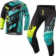 2018 Alpinestars Techstar Kit Combo - Screamer Blk Teal Flo Ylw