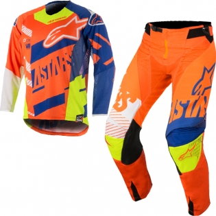 2018 Alpinestars Techstar Kit Combo - Screamer Org Blue Flo Ylw