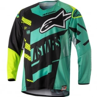 2018 Alpinestars Techstar Jersey - Screamer Black Teal Flo Yellow