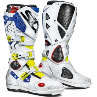 Sidi Crossfire 2 SRS Motocross Boots - Fluo Yellow White Blue
