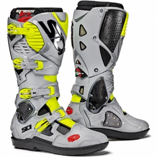 Sidi Crossfire 3 SRS Motocross Boots - Black Ash Yellow Fluo