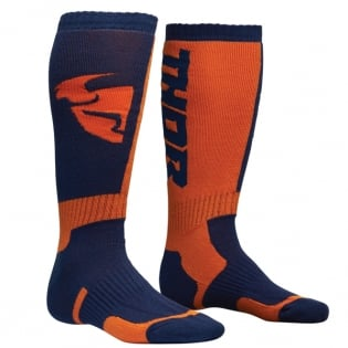 Thor Kids MX Long Navy Orange Boot Socks