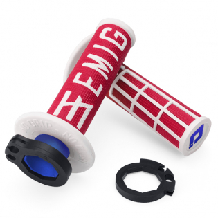 ODI EMIG Racing Lock On Red White Motocross Grips