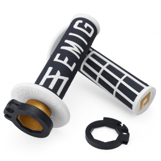 ODI EMIG Racing Lock On Black White Motocross Grips