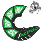 Acerbis X-Brake Front Vented Black Green Disc Protector - Incl Mount