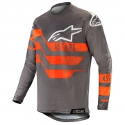 Alpinestars Racer Flagship Jersey - Mid Grey Anthracite Orange Fluo