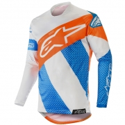 Alpinestars Racer Tech Atomic Jersey - Cool Grey Mid Blue Orange Fluo