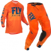 Fly Racing Lite Hydrogen Orange Navy Kit Combo