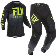 Fly Racing Lite Hydrogen Black Hi Viz Kit Combo