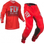 Fly Racing Lite Hydrogen Red Grey Kit Combo