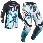Fly Racing Lite Hydrogen Paradise Teal Black Kit Combo