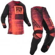 Fly Racing Kinetic Noiz Neon Red Black Kit Combo